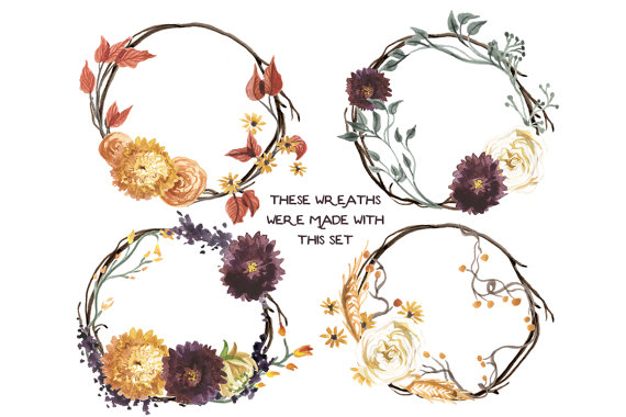 Create your own fall. Autumn clipart floral