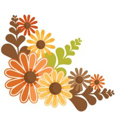 Autumn clipart floral. Fall with pumpkins and