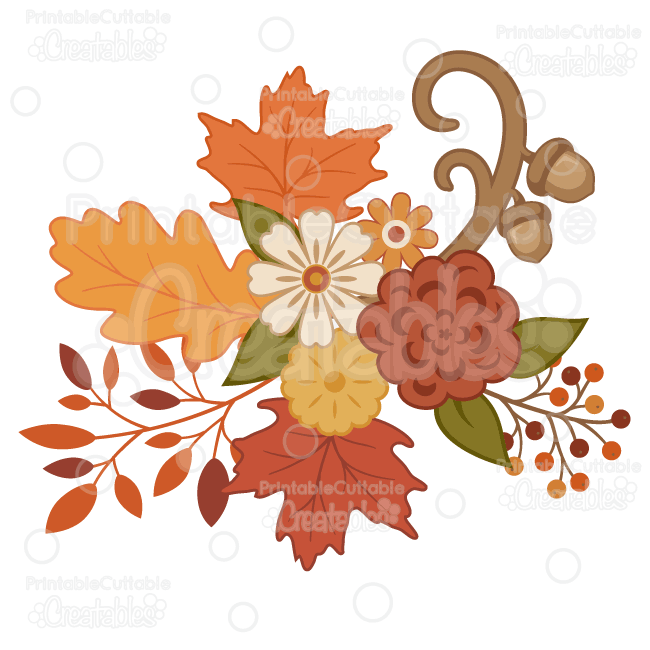Pretty flowers svg cutting. Bouquet clipart autumn