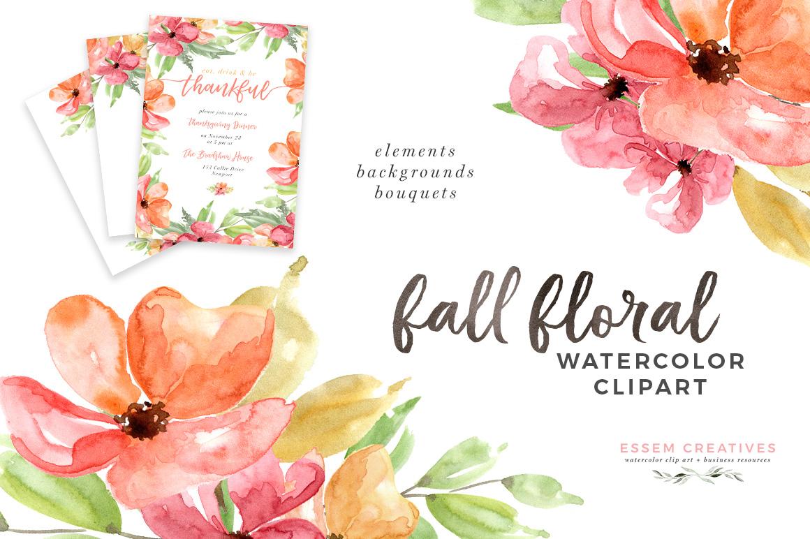 Autumn clipart floral. Fall watercolor x digital