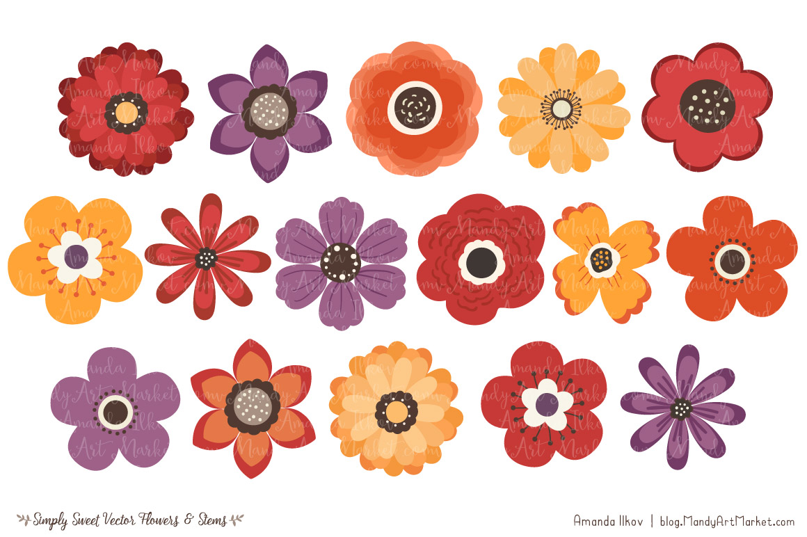Autumn clipart floral. Simply sweet vector flowers