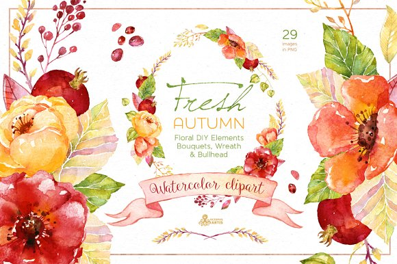 Fresh watercolor illustrations creative. Bouquet clipart autumn