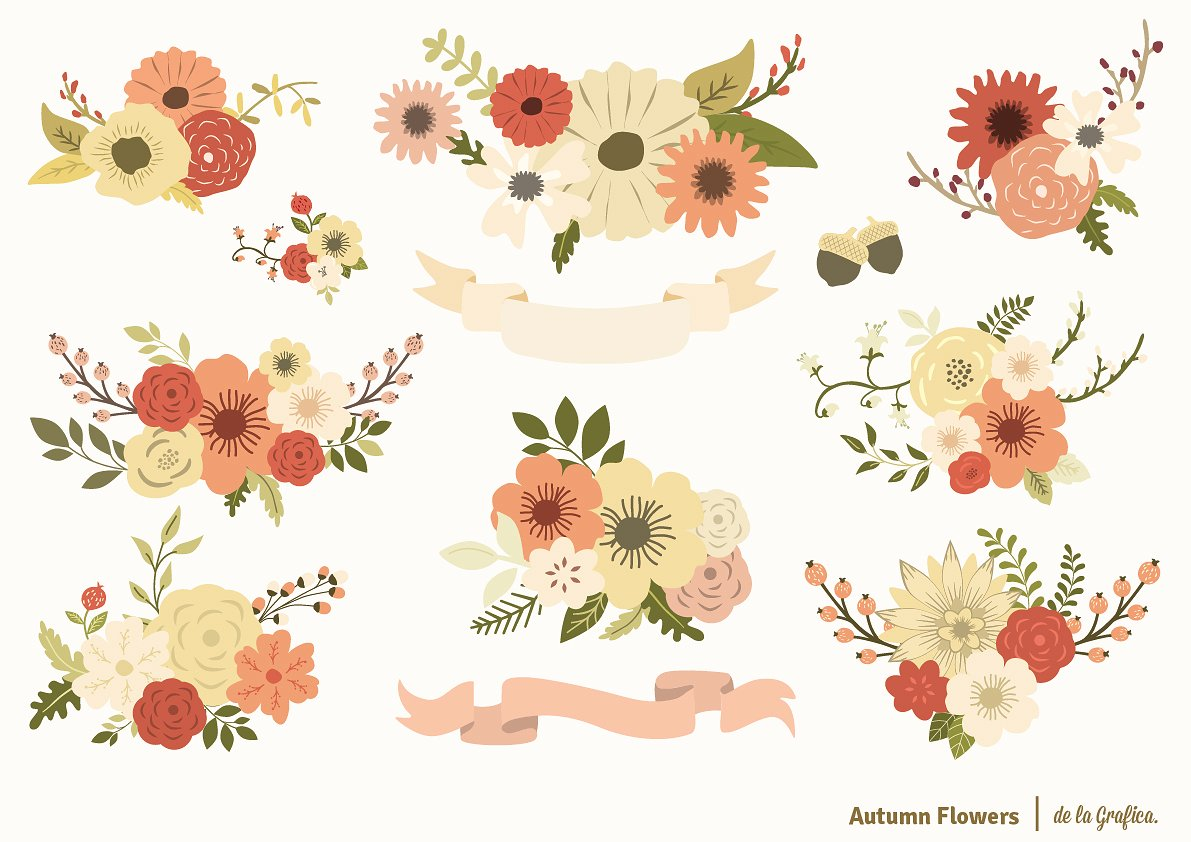 Flowers set illustrations creative. Autumn clipart floral