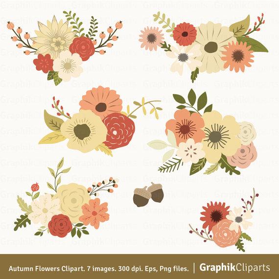 Flowers vector . Autumn clipart floral