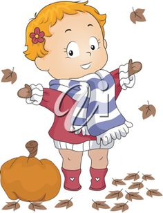 Autumn clipart frog. Illustration of a girl