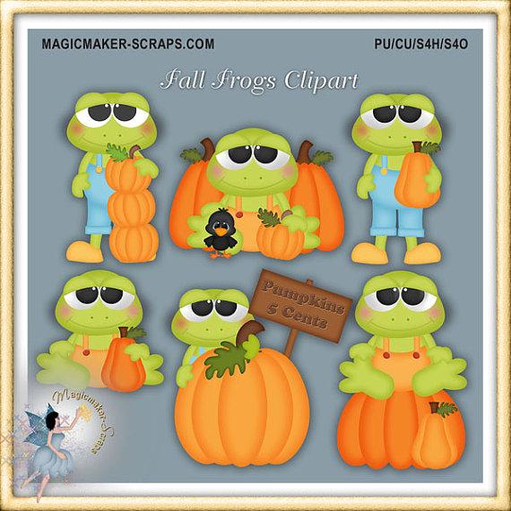 Fall frogs pumpkin patch. Autumn clipart frog