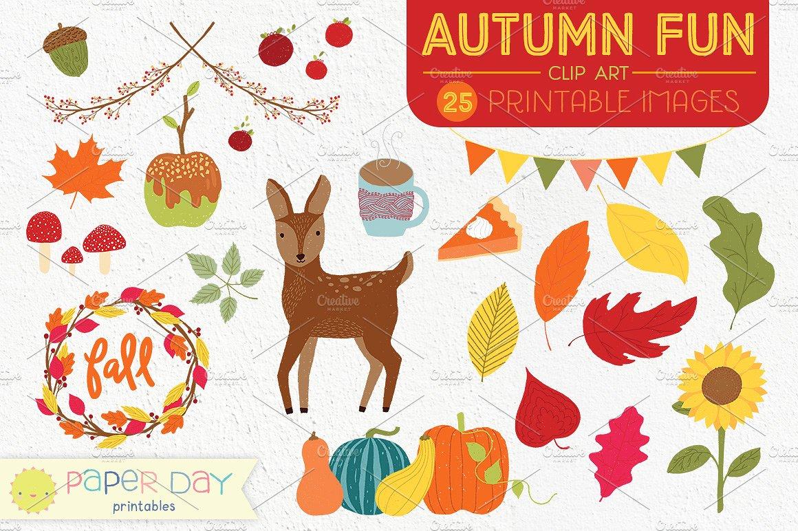 Fall clip art raster. Autumn clipart fun