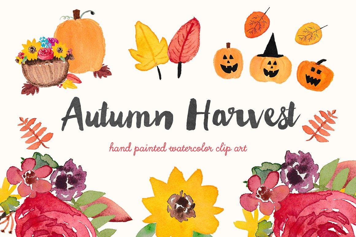 Autumn clipart harvest. Watercolor clip art illustrations