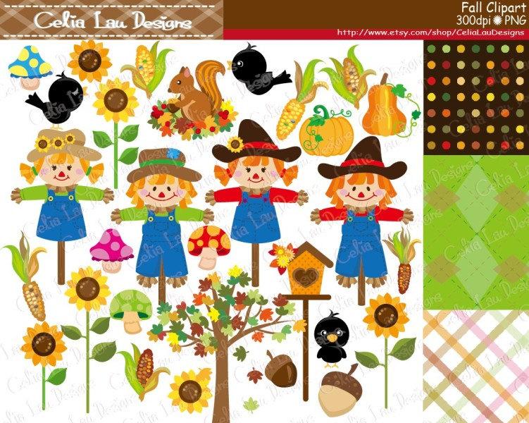 Fall digital . Autumn clipart harvest