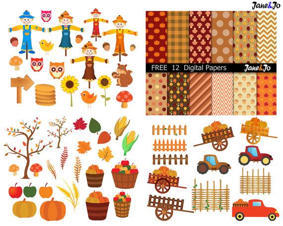 Autumn clipart harvest.  fall digital like
