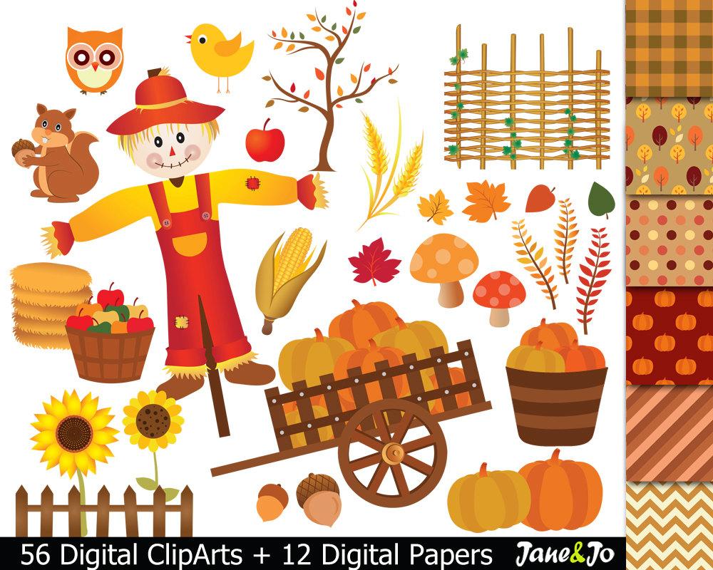 Autumn clipart harvest.  fall digital