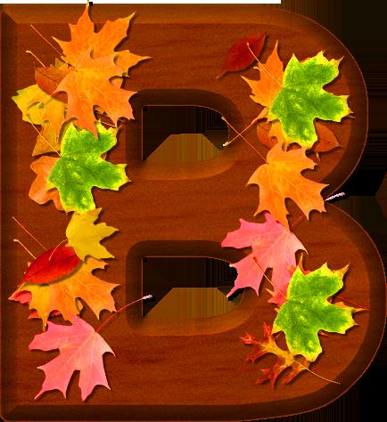 B clipart wood. Presentation alphabets cherry leaves