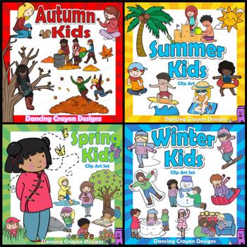 Kids clipart seasons. Clip art bundle for
