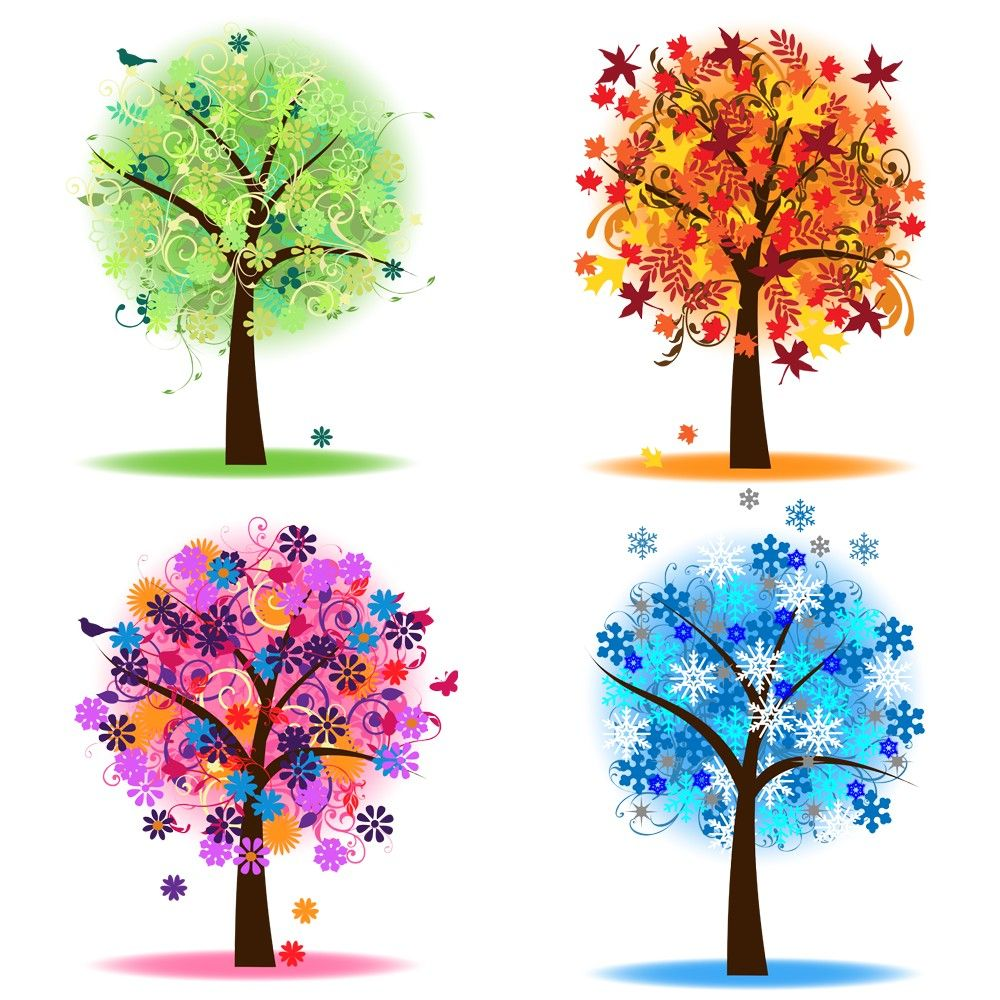 Tree clipart summer season. Four seasons trees clip