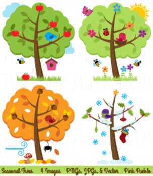 Four seasons trees and. Winter clipart spring