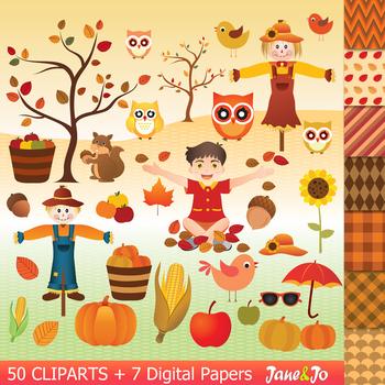 Autumn clipart squirrel. Fall paper pumpkin image