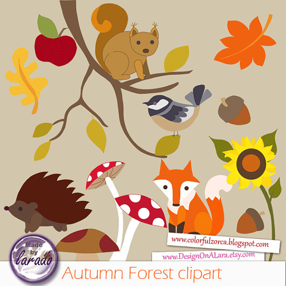 Autumn clipart squirrel. Forest fall leaves clip