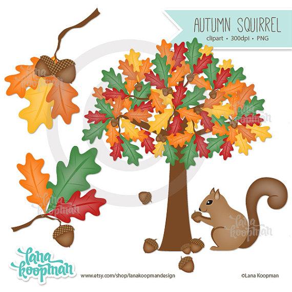 Autumn clipart squirrel. Items similar to clip