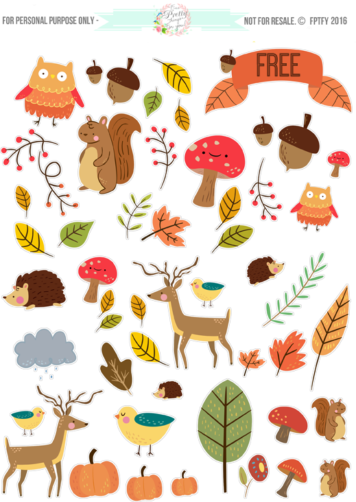 Autumn clipart sticker. Free critter planner stickers