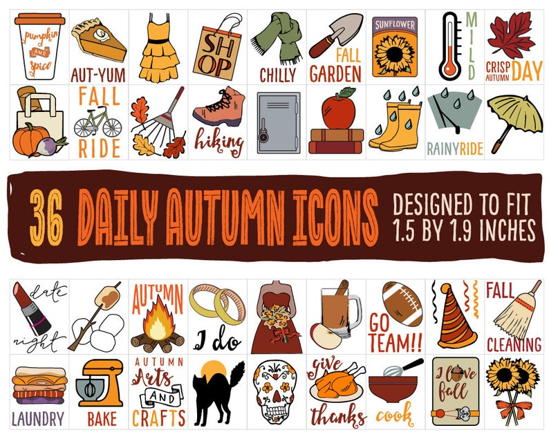 Autumn clipart sticker. Fall planner stickers icons