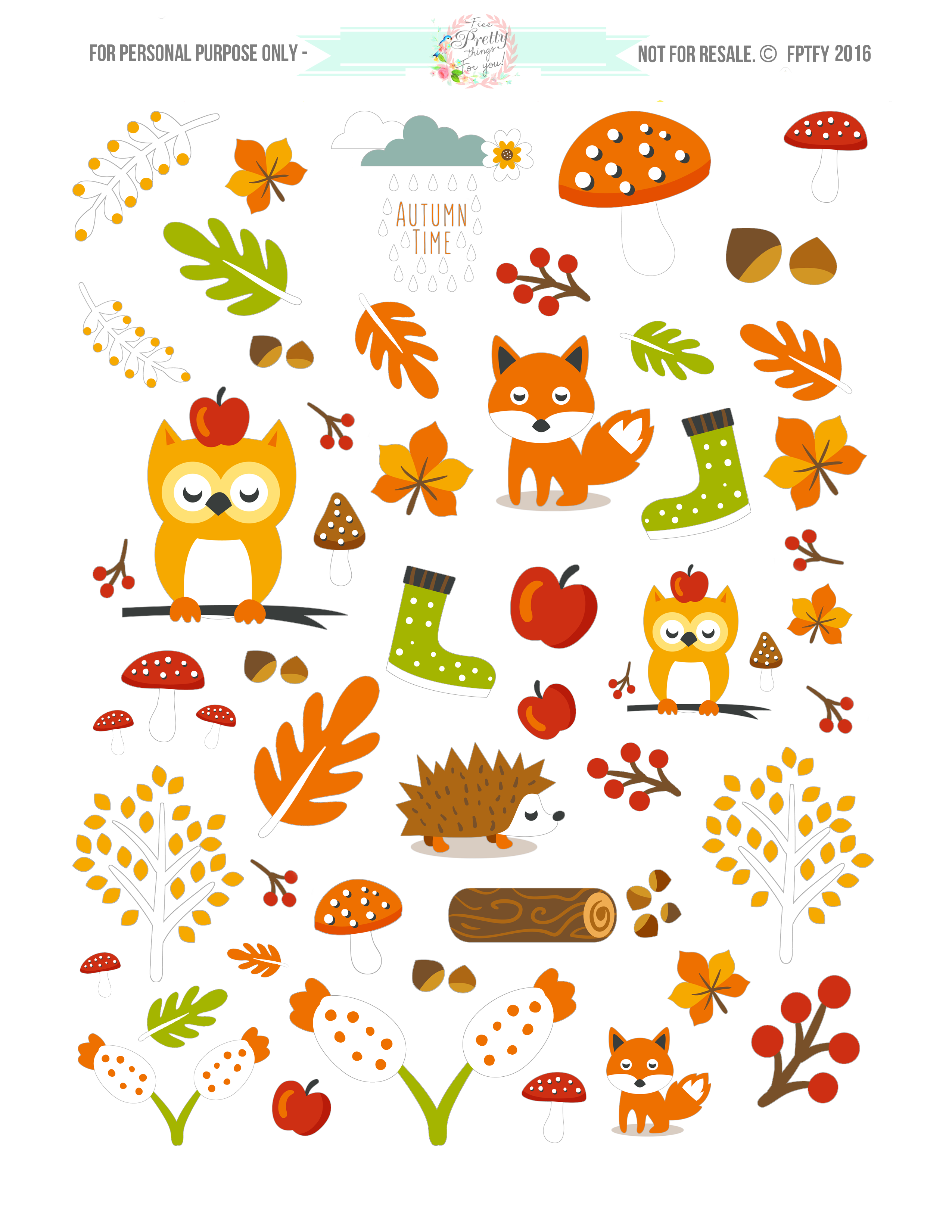 Planner clipart planner sticker. Free cute autumn animal