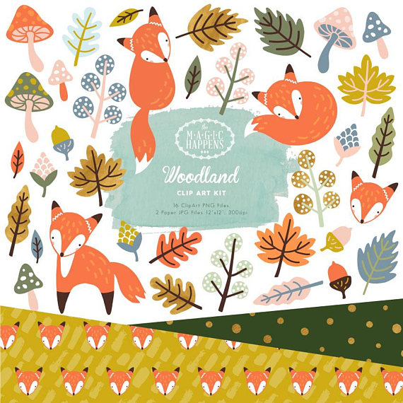 Woodland fox fall digital. Autumn clipart sticker