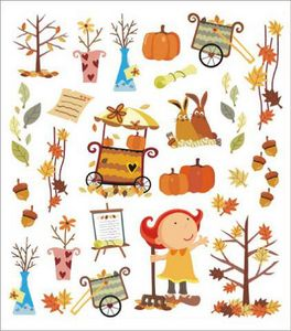 Autumn clipart sticker. Stickers galore seasons