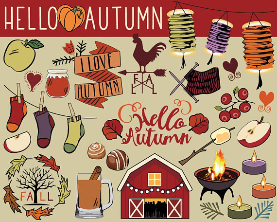 Hello doodles planner stickers. Autumn clipart sticker