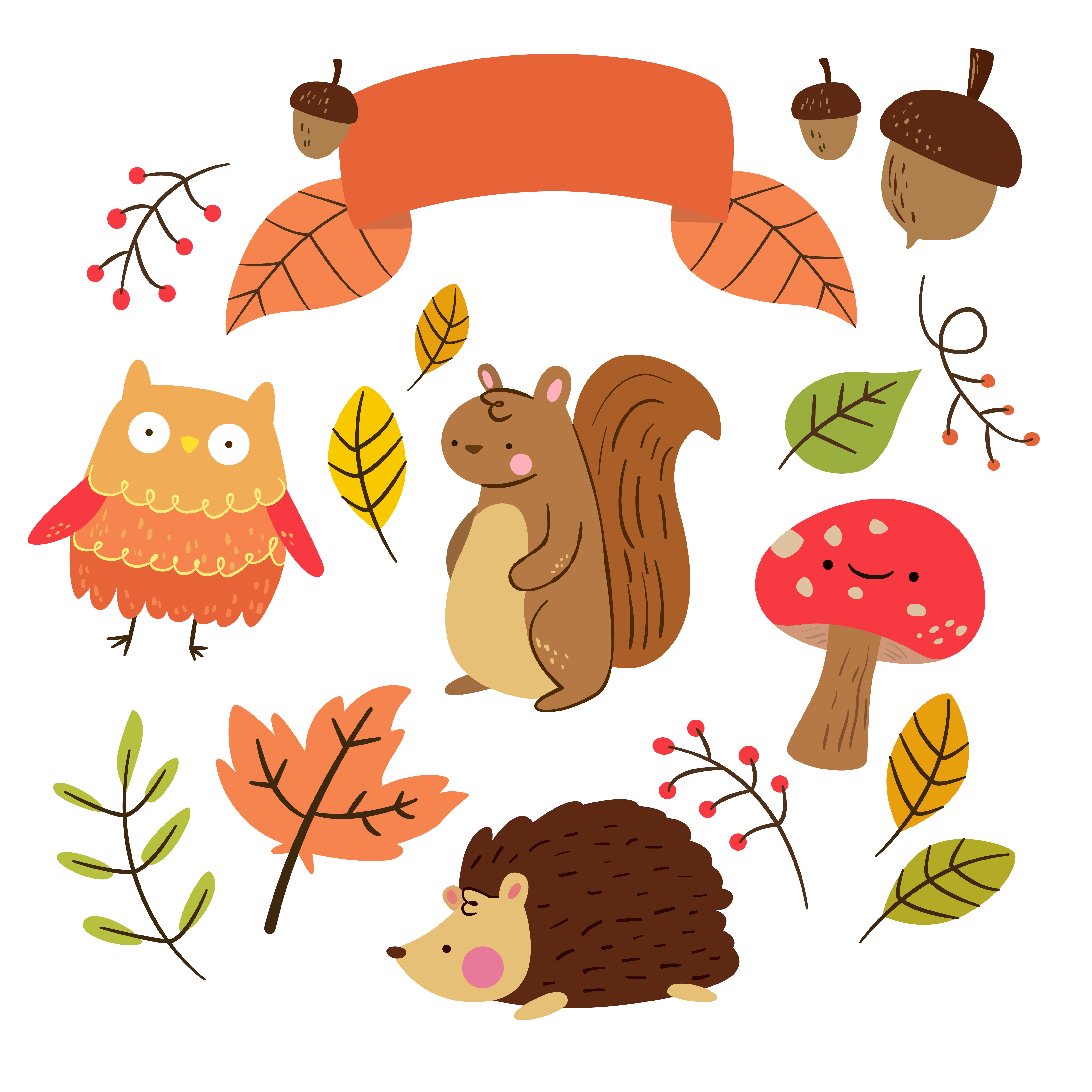 Free critter autumn planner. Organized clipart content page