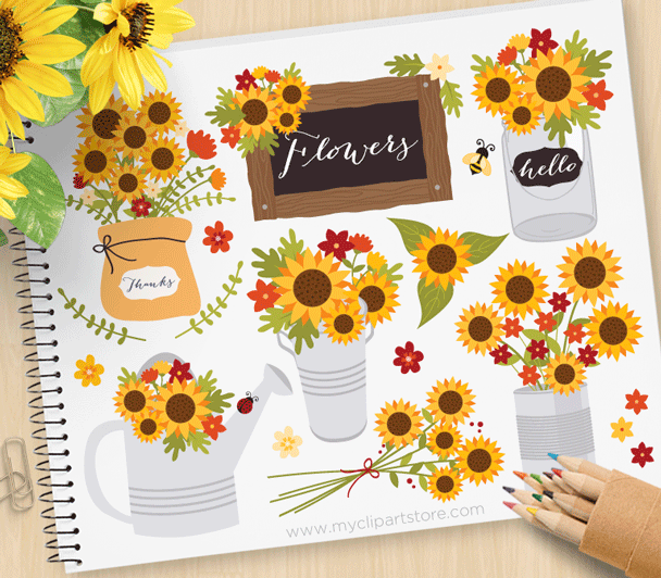 Cottage sunflowers premium vector. Autumn clipart sunflower