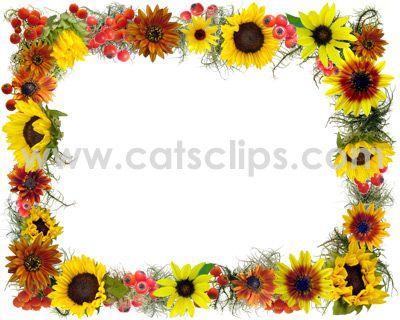 Border clip art fall. Autumn clipart sunflower
