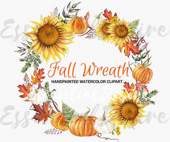 Autumn clipart sunflower. Thanksgiving fall wreath handpainted