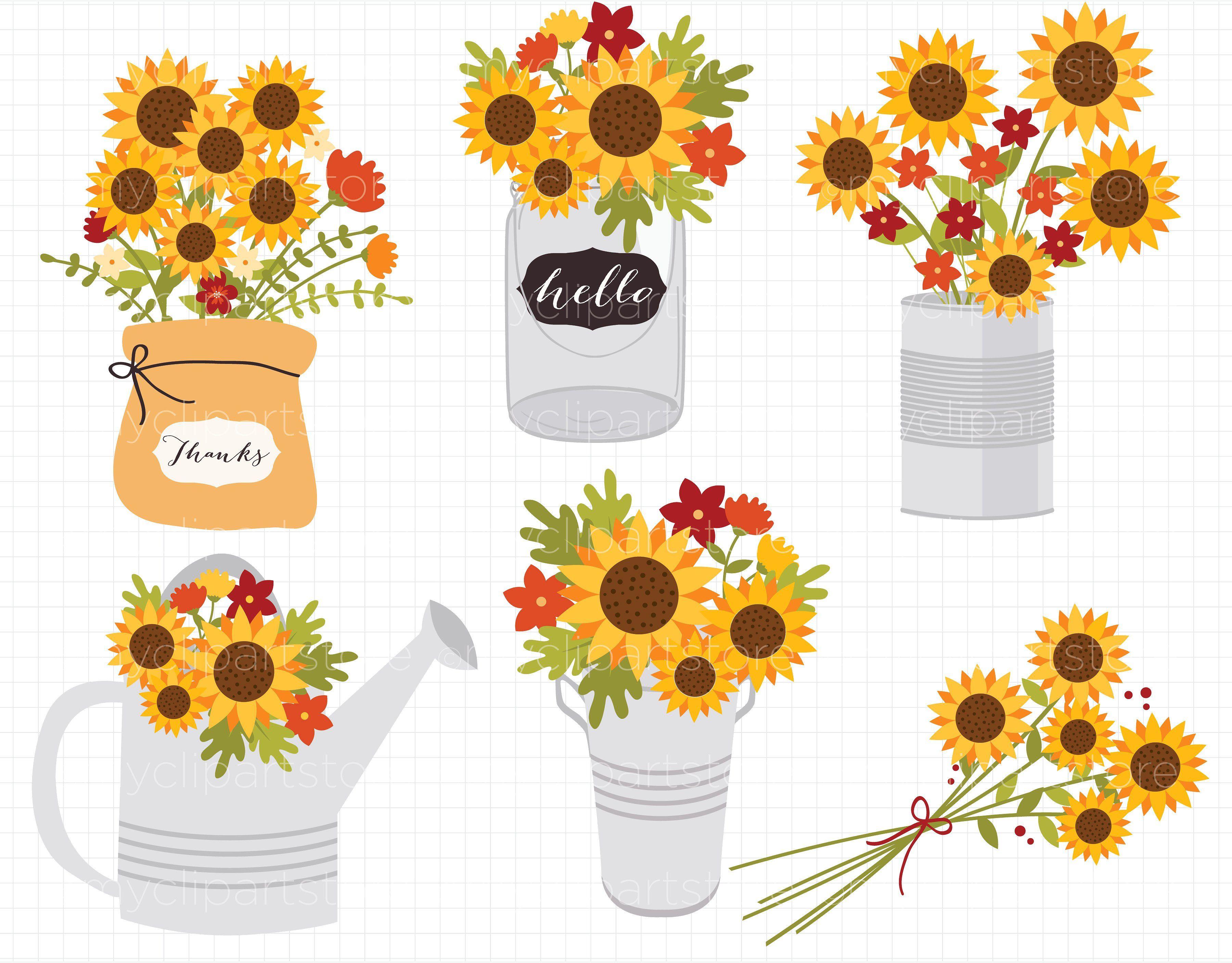 Sunflowers flowers autumn thanksgiving. Clipart fall flower