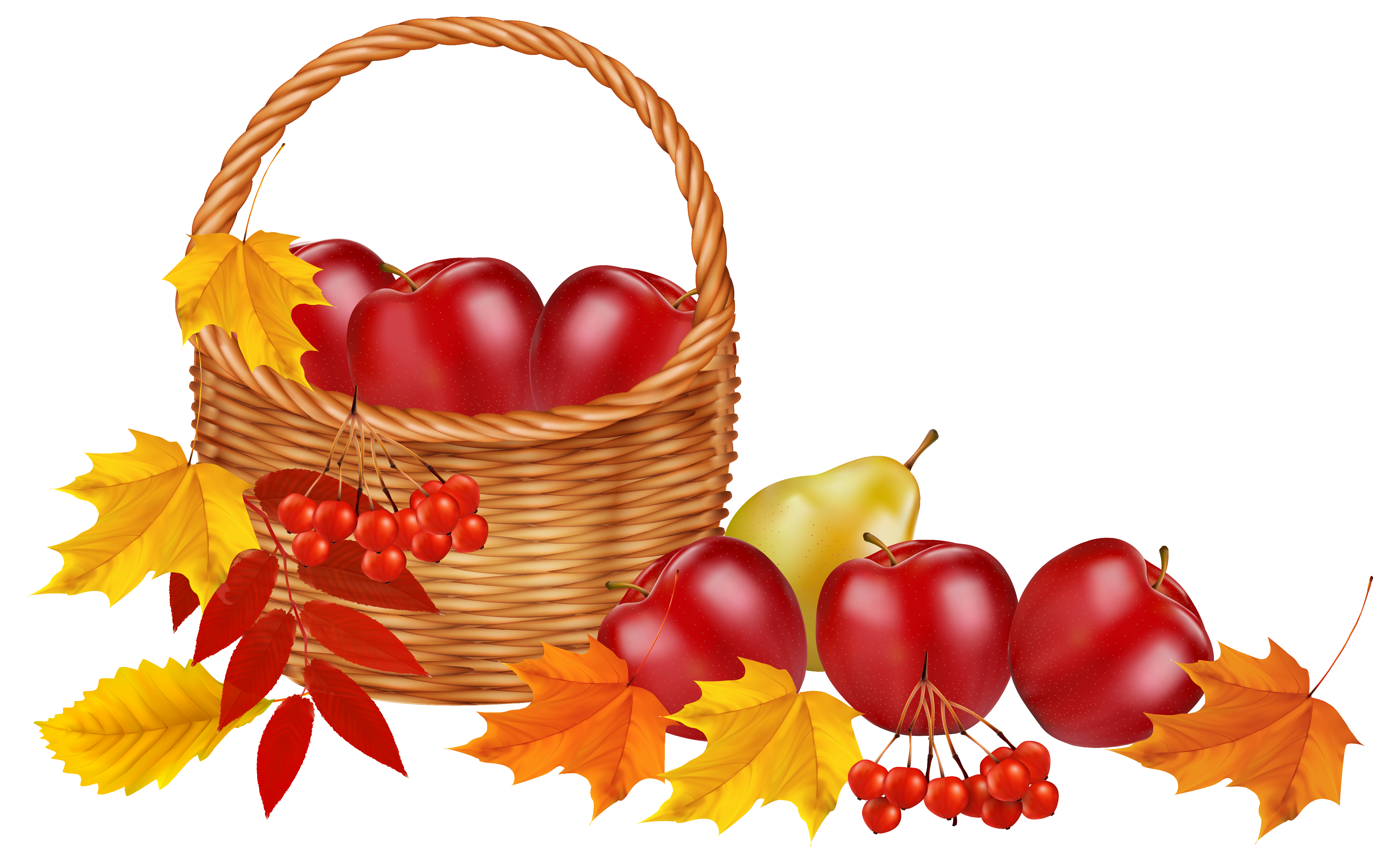 Clipart fruit summer fruit. Basket with fruits and