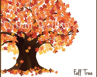 Autumn clipart tree. Fall etsy clip art