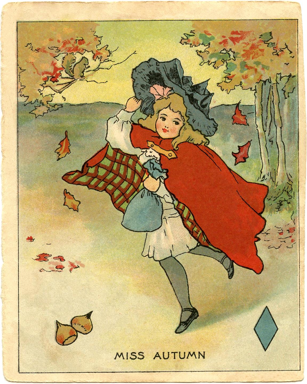 Autumn clipart victorian. Vintage clip art miss
