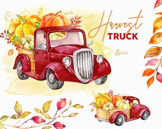 Harvest truck watercolor pumpkins. Autumn clipart vintage