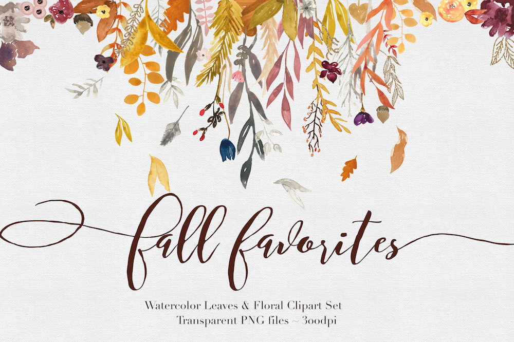 Fall by the rabbit. Autumn clipart watercolor