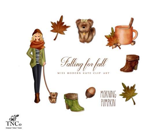 Fashion illustration fall clip. Autumn clipart watercolor