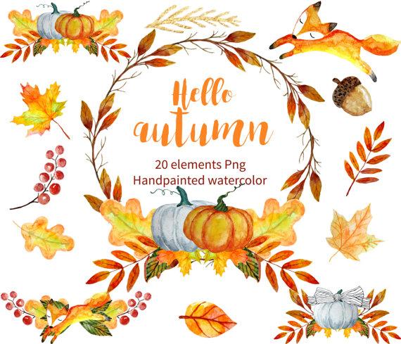 Autumn clipart watercolor. Fall hand drawn laurel