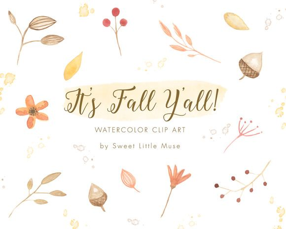 Autumn clipart watercolor. Clip art fall and