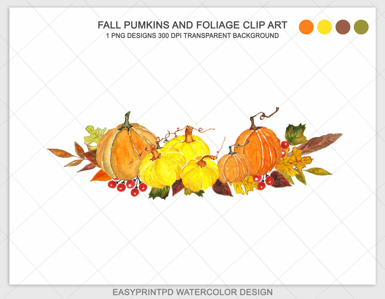 Pumpking clip art pumpkins. Autumn clipart watercolor