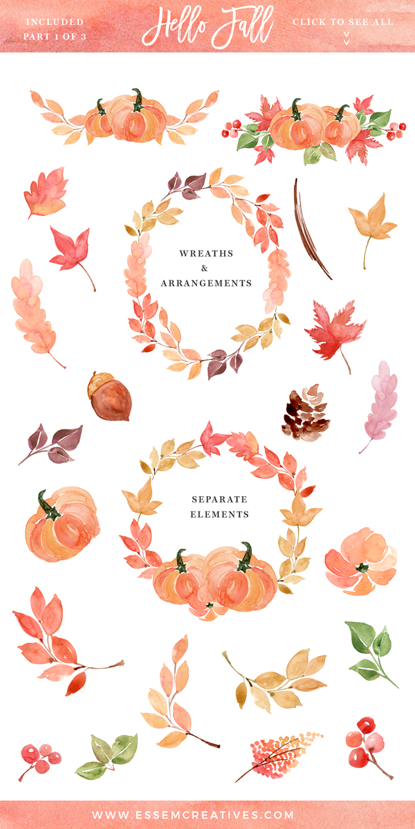Autumn clipart watercolor. Fall wreath clip art