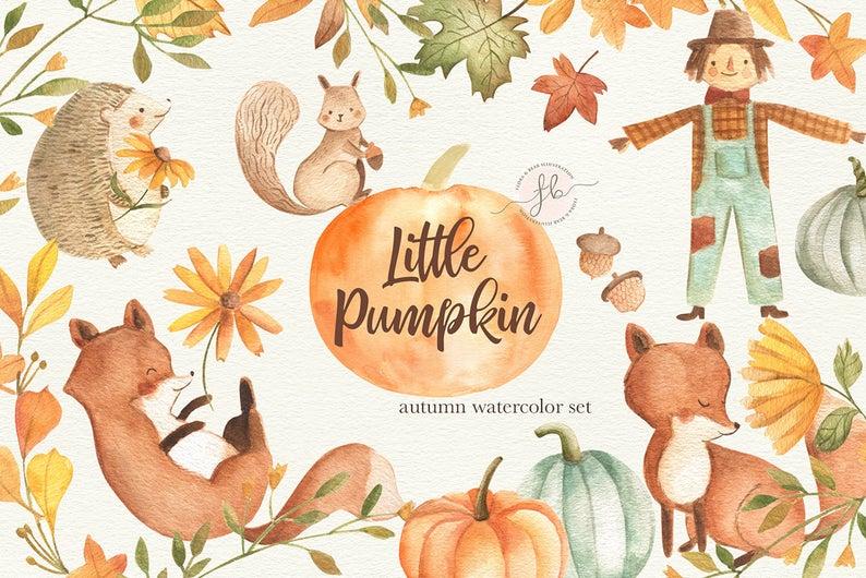 Autumn clipart watercolor. Fall pumpkin printable digital