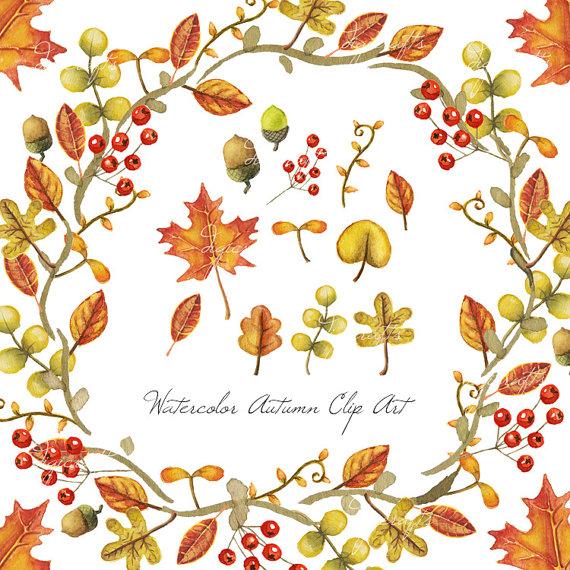 Autumn clipart watercolor. Leaves clip art digital