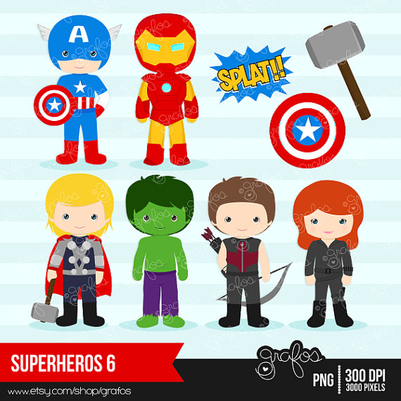 Avengers clipart. Superheroes digital instant download