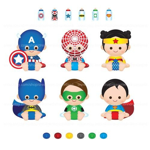 Baby clipart superhero. Super boy girl pdf