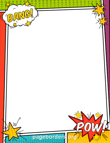 Printable comic book border. Boarder clipart superhero