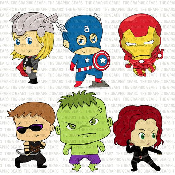 Baby clip art set. Avengers clipart cartoon