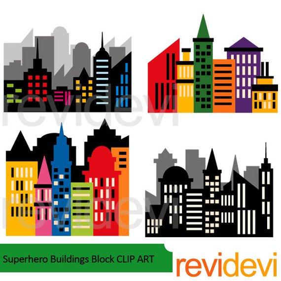 Superhero skyline block . Buildings clipart city building
